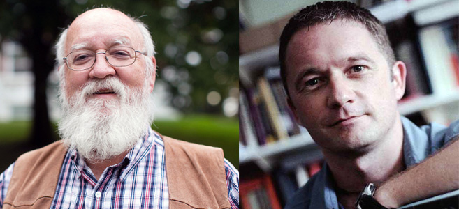 Professor David Spurrett (right) with Professor Daniel Dennett at the Evolving Minds conference in Australia.