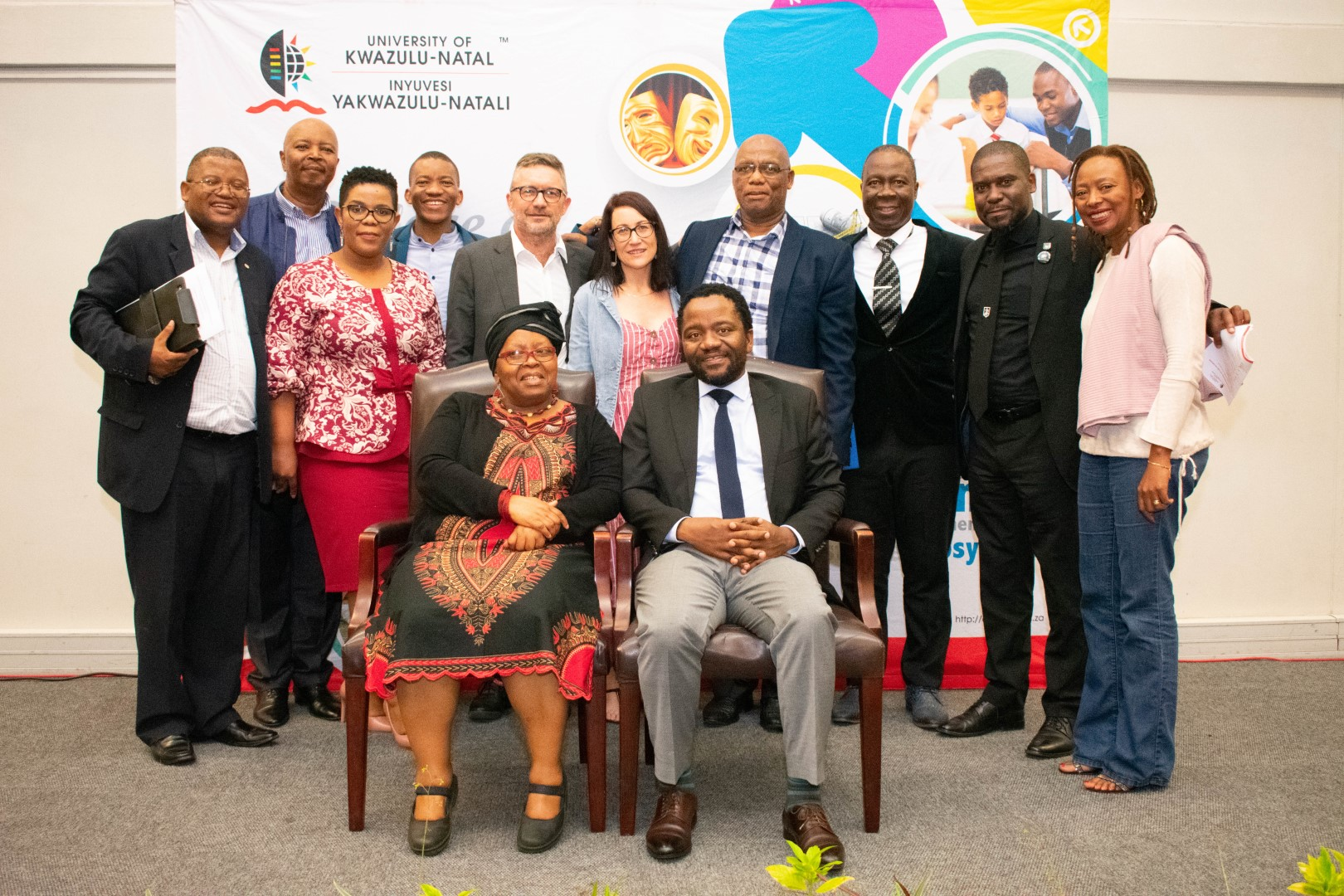 Dr Bongani Ngqulunga (seated right) with UKZN staff members at the John Dube Memorial Lecture.